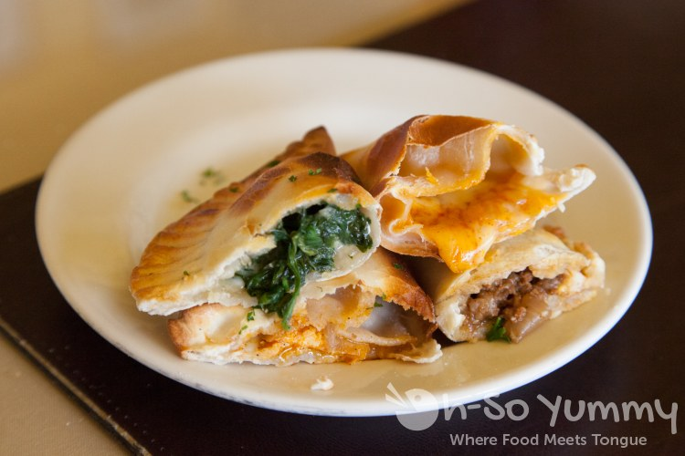 empanadas cut open at Pampas Argentine Grill