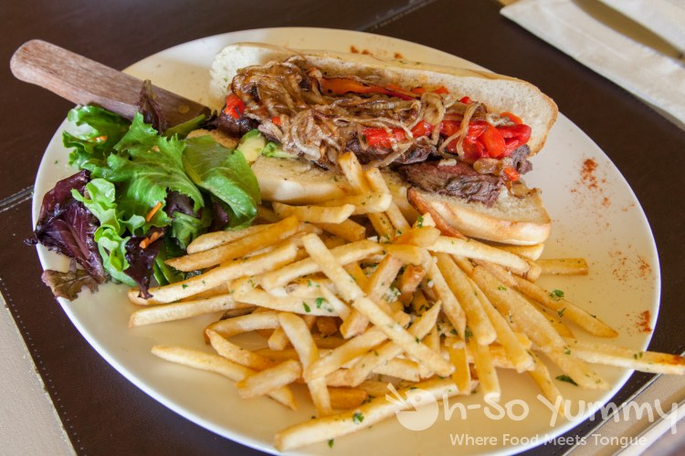 open faced skirt sandwich at Pampas Argentine Grill