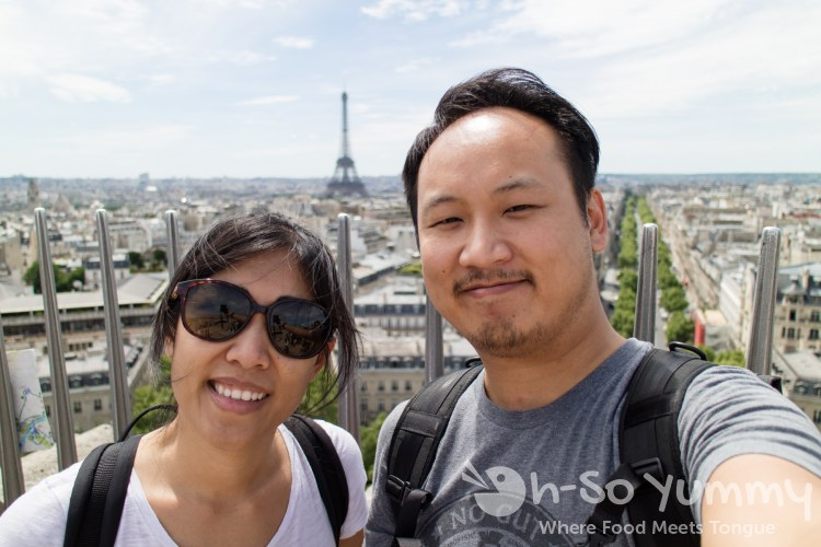 view of the Eiffel Tower from Arc de Triomphe in Paris France