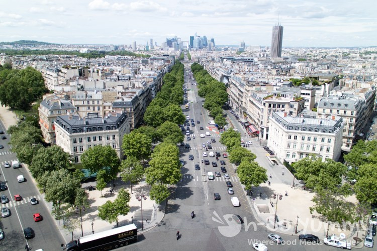 view from the Arc de Triomphe in Paris France