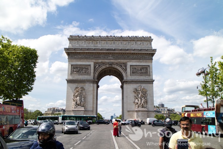 street view of the Arc de Triomphe in Paris France