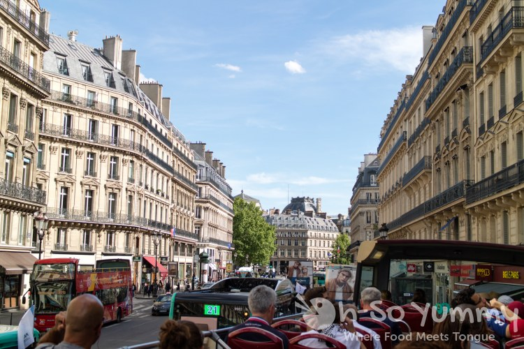 elevated views while riding the Big Bus Tour in Paris France