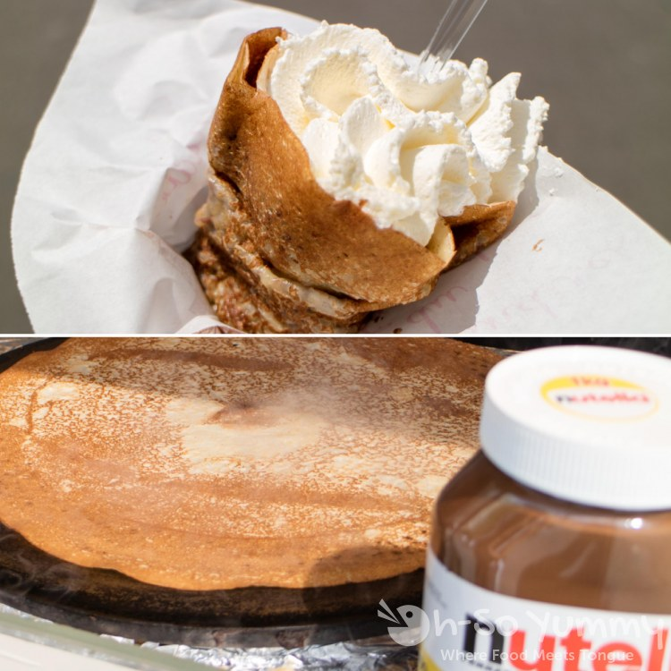 Nutella banana crepe near Eiffel Tower in Paris France