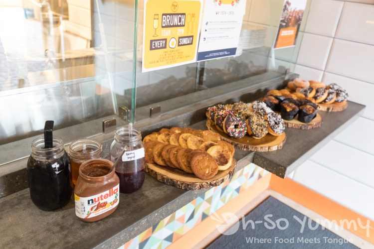 donuts, pastries and sauces at Park 101 for brunch in Carlsbad CA
