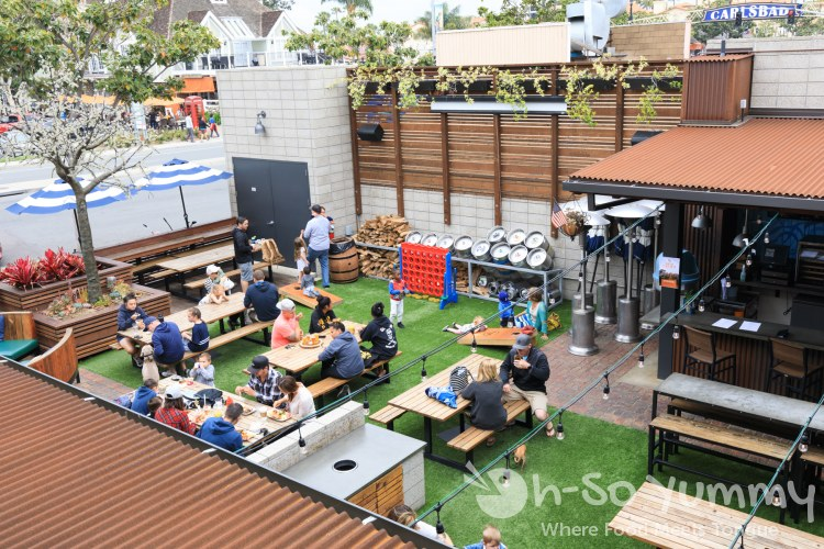 upstairs view of the outdoor patio at Park 101 in Carlsbad CA