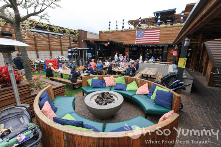 large outdoor patio plus lawn games at Park 101 in Carlsbad CA