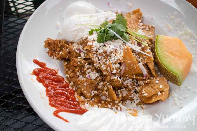 Green Chilaquiles with chorizo at Parkhouse Eatery in San Diego