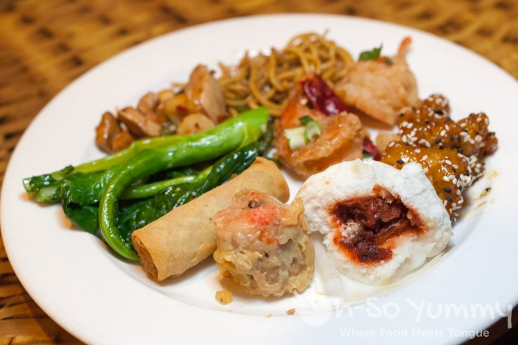 Chinese plate at Lobster Seafood Buffet at Pechanga Resort and Casino in Temecula