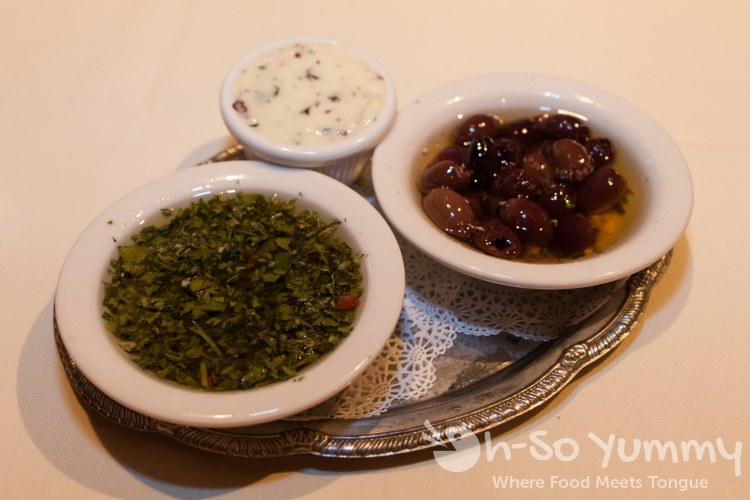 chimichurri, olives, and butter at Puero La Boca in San Diego