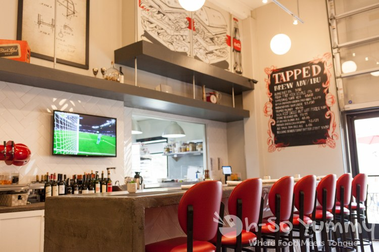 bar seating at Red Card Cafe in San Diego California