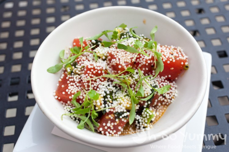 watermelon poke at Red Card Cafe in San Diego California