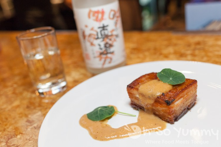 Braised Pork Belly and Junmai Ginjo Namazake Sake at Saiko Sushi in North Park