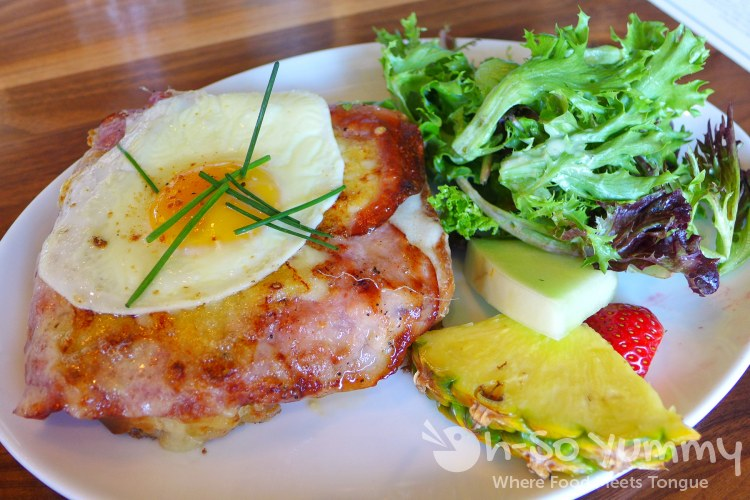 Croque-Madame with brioche, swiss, ham, egg at Sea and Smoke restaurant