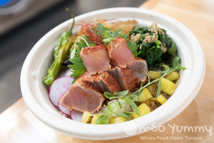 Albacore Al Pastor Donburi at Single Fin Kitchen inside Atlas Market in Poway