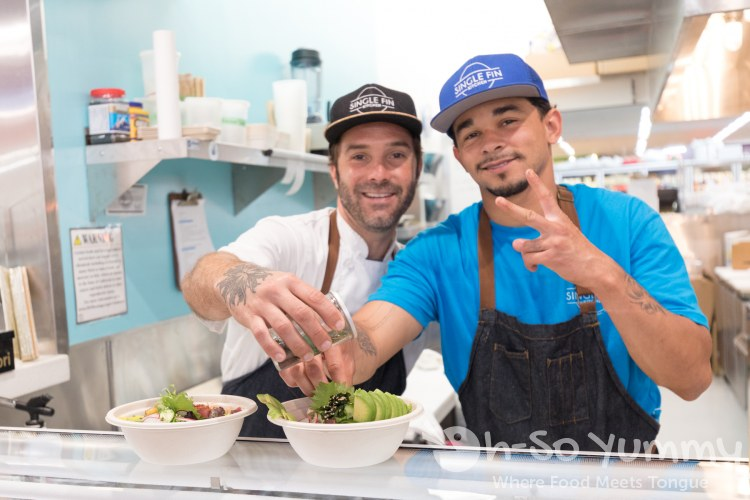 Chef Quindere and Joshua at Single Fin Kitchen inside Atlas Market in Poway
