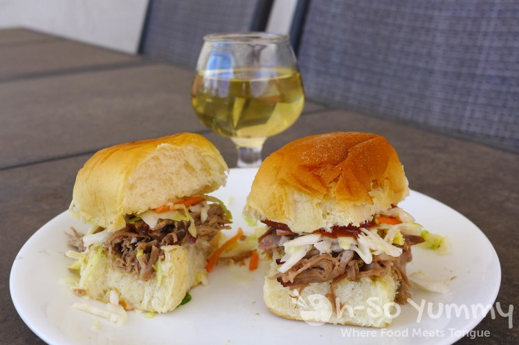 Smoked Pulled Pork Sliders with cole slaw
