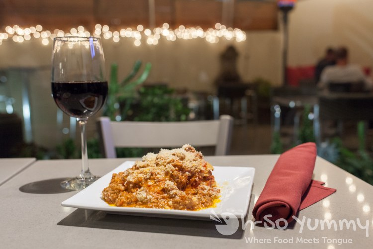 Lasagna and wine at SoleLuna Cafe in San Diego