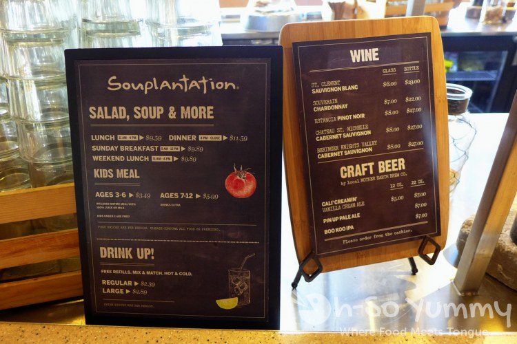 menu options at souplantation