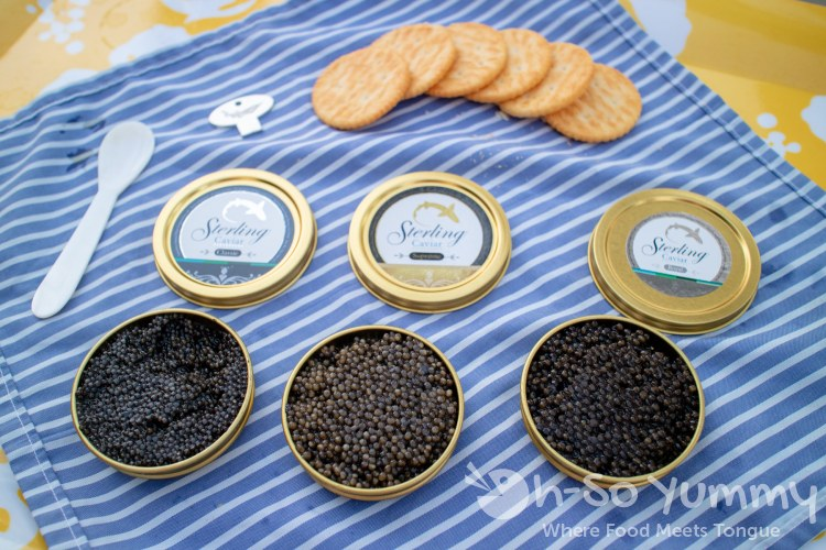 Sterling Caviar Classic, Royal and Supreme paired with Ritz crackers