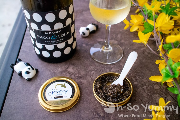 Sterling Caviar Classic, Royal and Supreme with Albarino wine