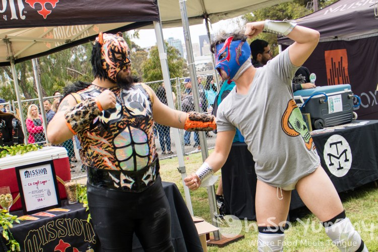 Lucha Libre Wrestlers during Tacotopia in Golden Hill Park San Diego