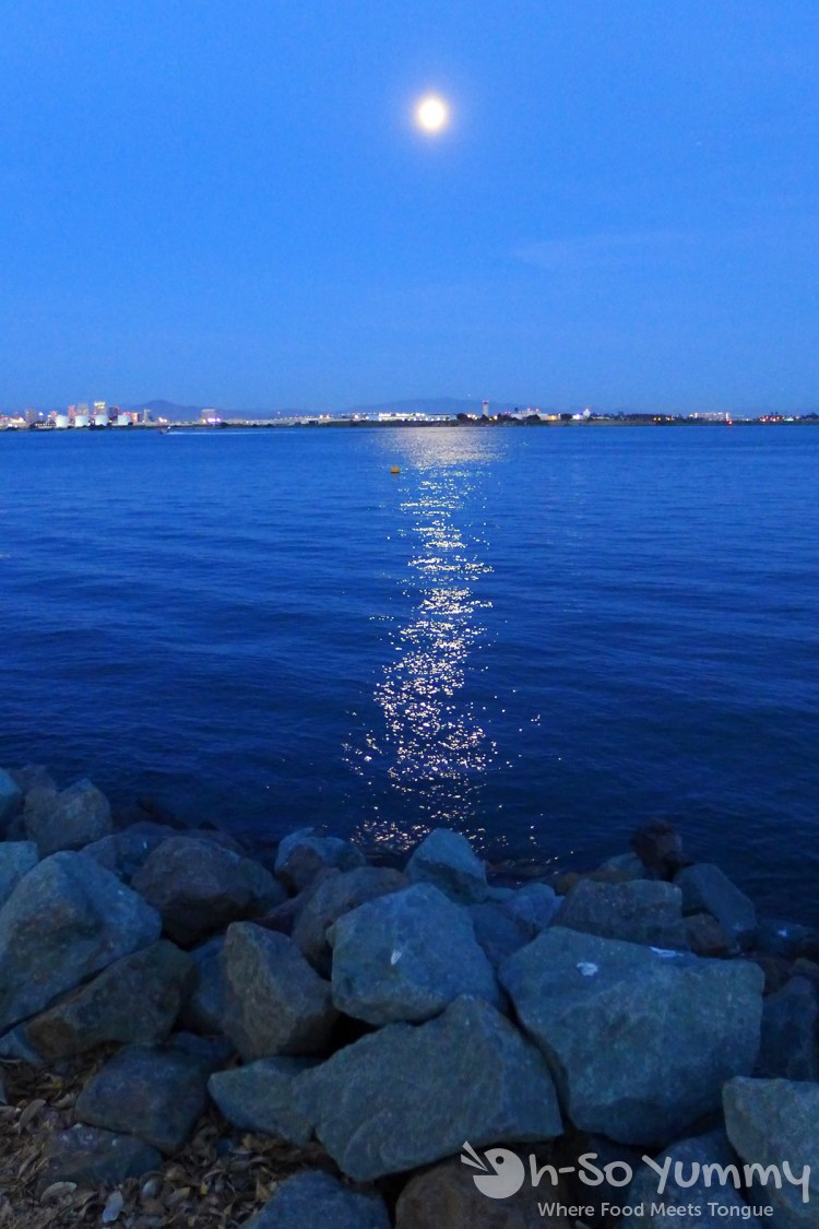 moon reflection in the water in Point Loma