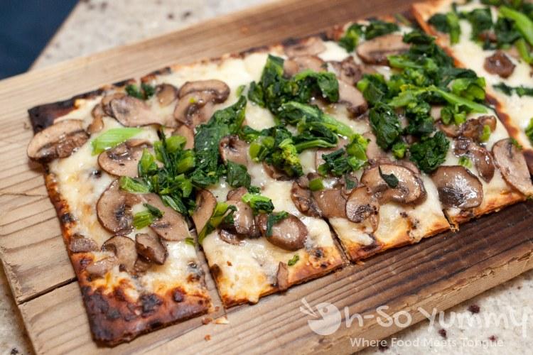 rapini and mushroom flatbread at Tidal seasonal craft and catch in San Diego