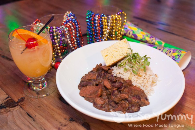 Mardi Gras: Hurricane cocktail or Rice and Beans at Tin Roof in downtown San Diego