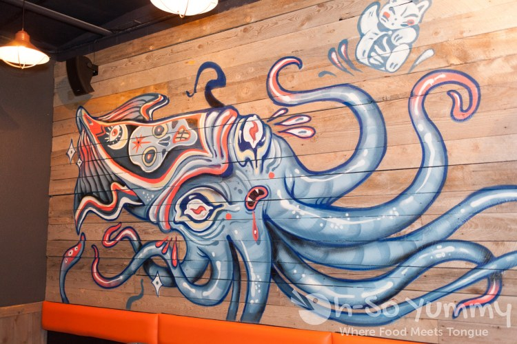 Giant Octopus wall art at Trade Winds Tavern gastropub in Convoy