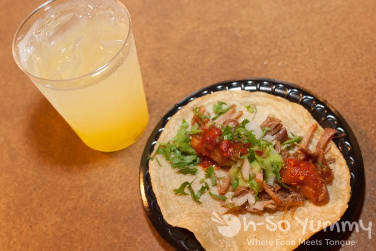 Taste of Old Town 2014 - carnitas taco and margarita at Cafe Coyote