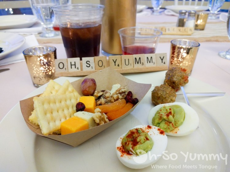 wedding appetizers with customized scrabble nameplate
