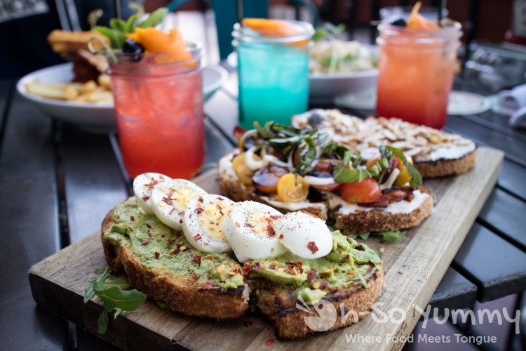 brunch cocktails and toast flight at West Coast Tavern in San Diego
