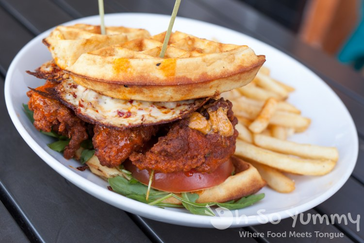Hot Chicken Waffle Sandwich at West Coast Tavern in San Diego, CA