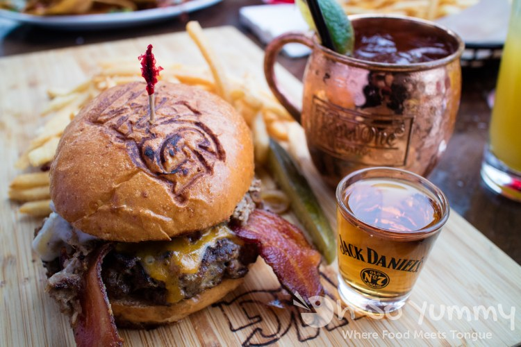 Whiskey Burger plus shot of Jack Daniels at Whiskey Girl San Diego