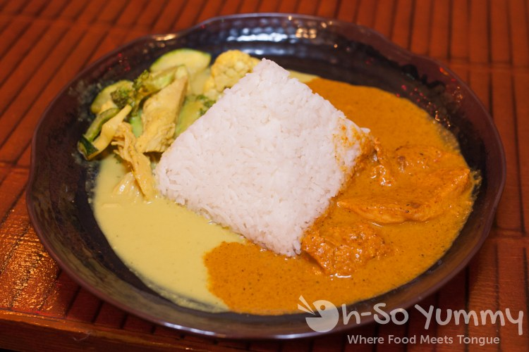 tikka masala chicken and thai green curry at World Curry in Pacific Beach