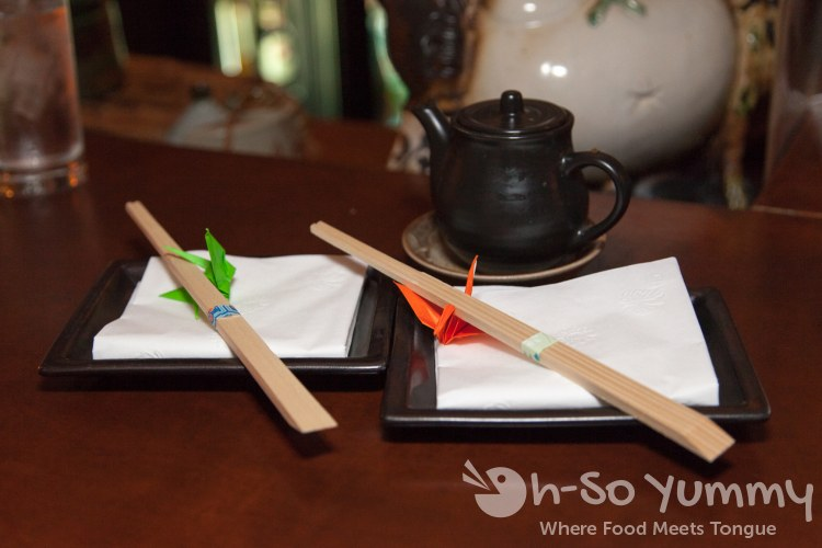 chopsticks and cranes at Yu Me Ya Sake House