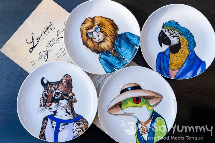 unique character plates at Louisiana Purchase in San Diego