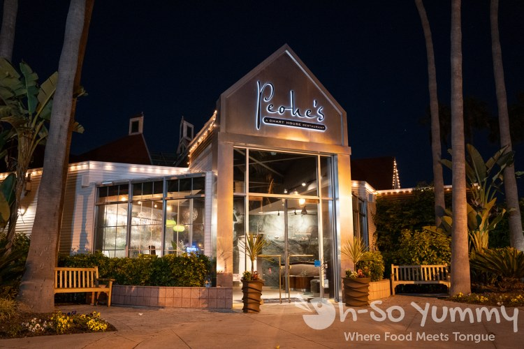 Night view of entrance of Peohe's, a Chart House Restaurant in San Diego