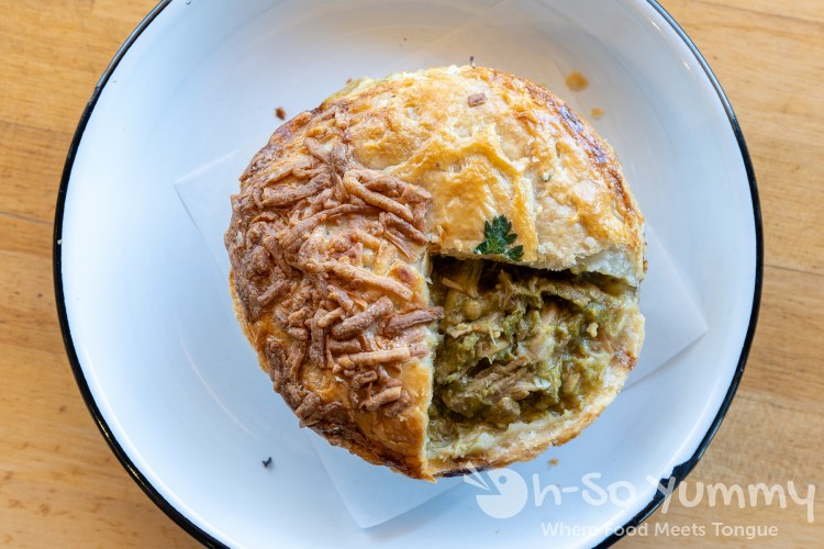 Green Hog and Cheese Pot Pie at Pop Pie Co. in San Diego