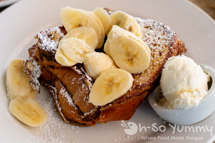 Caramelized Tahitian Vanilla Bean French Toast at Shorehouse Kitchen in La Jolla