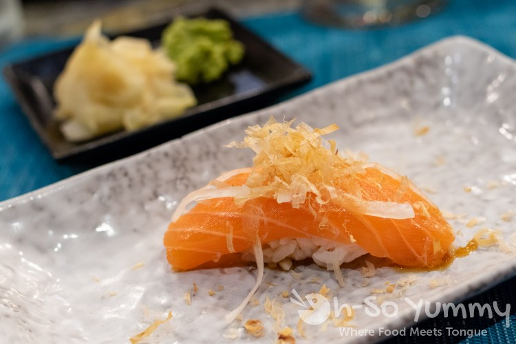 Norwegian salmon course during omakase at Too Sushi Project
