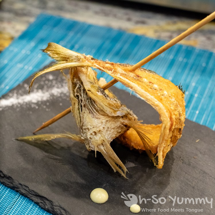 Spanish mackerel (fried) course during omakase at Too Sushi Project