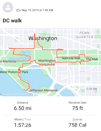 National Mall in Washington DC walk map on Strava