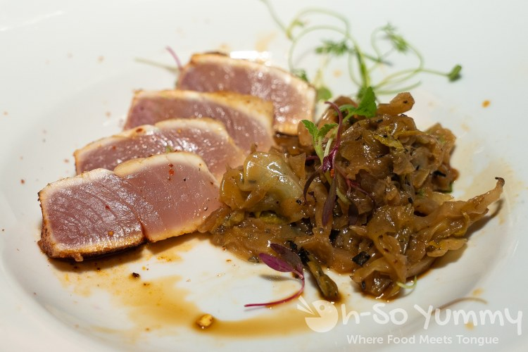 Seared Chorizo Albacore with Black Pepper Cabbage at Wrench and Rodent in Oceanside