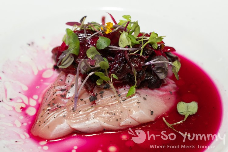 Local Yellowtail in a Beet Stem Relish at Wrench and Rodent in Oceanside